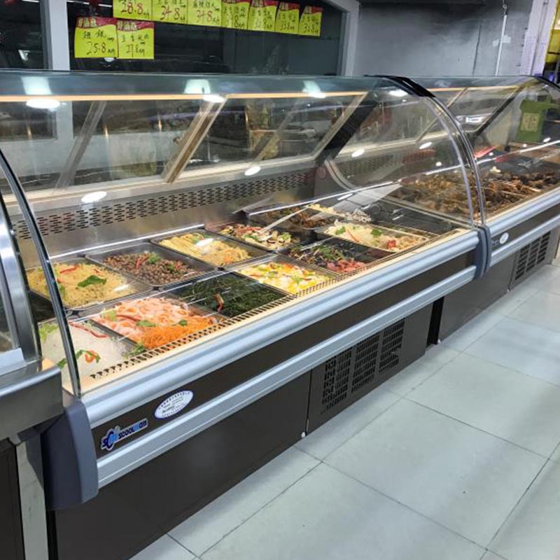 2018 Multi-function Supermarket Refrigerator Cooler for Food Freezing with Tempered Curved Glass